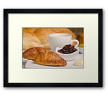 Breakfast with Croissant, jam and butter,  Framed Print