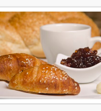Breakfast with Croissant, jam and butter,  Sticker