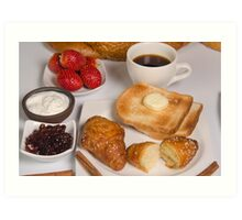 Breakfast with Croissant, toast, jam and butter Art Print