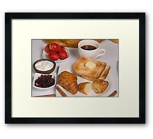 Breakfast with Croissant, toast, jam and butter Framed Print