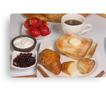 Breakfast with Croissant, toast, jam and butter Metal Print