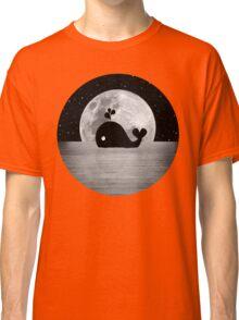 Whale Night Swim - Black and White Classic T-Shirt