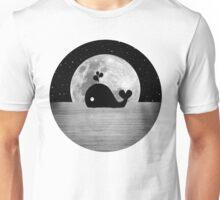Whale Night Swim - Black and White Unisex T-Shirt