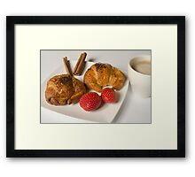 Breakfast with Croissant and strawberries  Framed Print