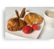 Breakfast with Croissant and strawberries  Metal Print