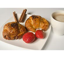 Breakfast with Croissant and strawberries  Photographic Print