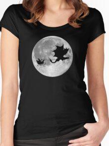 Santa Claus Dragon Rider Sleigh Ride Women's Fitted Scoop T-Shirt