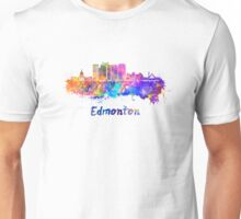 Edmonton V2 skyline in watercolor Unisex T-Shirt