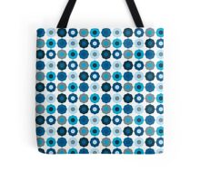 Retro Mod Abstract Blue Flowers Tote Bag