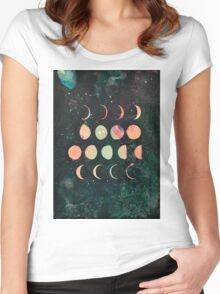 Moon Phases - Lunar Phases - Hipster Moon Phases  Women's Fitted Scoop T-Shirt