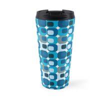Shades of Blue Retro Abstract Travel Mug