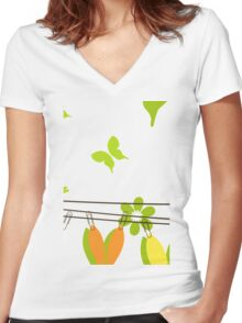 Easter card Women's Fitted V-Neck T-Shirt