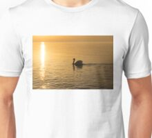 Gliding on Silky Gold - the Swan and the Sunpath Unisex T-Shirt