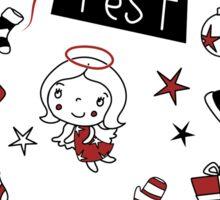 Frohes Fest  - Weihnachtswünsche in Weiß, Rot und Schwarz Sticker