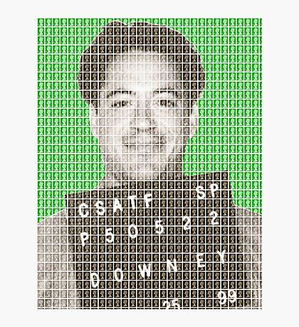 Robert Downey Jr Mug Shot - Green Photographic Print