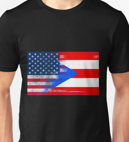 Puerto Rico American Flag Fusion Unisex T-Shirt