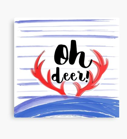 """Oh deer"" sign with thorns and snow brush strokes Canvas Print"