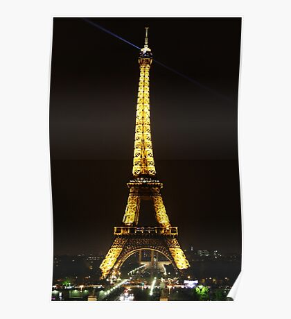 The Eiffel Tower By Night Poster