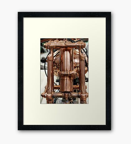 Classic vintage Jap motorcylce photograph close up, showing all the copper detail Framed Print