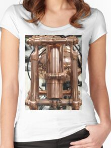 Classic vintage Jap motorcylce photograph close up, showing all the copper detail Women's Fitted Scoop T-Shirt