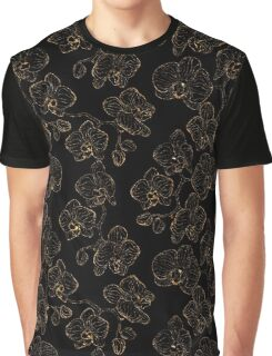 Flowers orchids ornament gold seamless pattern, stylish texture. Gold trendy glitter floral print on black background Graphic T-Shirt