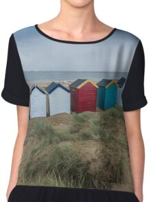 Colourful Beach Huts at Southwold Chiffon Top