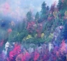 Fog over a colorful fall mountain fores Sticker
