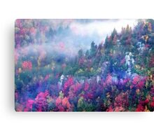 Fog over a colorful fall mountain fores Canvas Print
