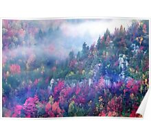 Fog over a colorful fall mountain fores Poster