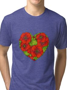 Red poppies flowers heart Tri-blend T-Shirt