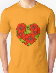 Red poppies flowers heart Unisex T-Shirt
