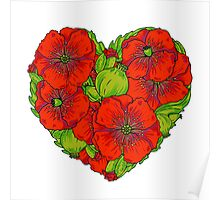 Red poppies flowers heart Poster