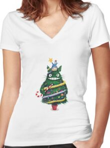 Christmas tree Totoro Women's Fitted V-Neck T-Shirt