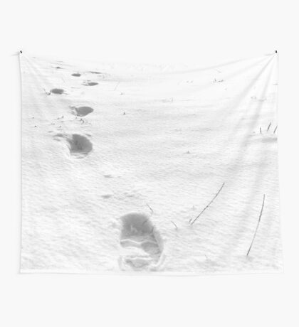 Footsteps in the snow, walking away Wall Tapestry
