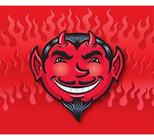 Smiling Devil Face with Flames Background Photographic Print