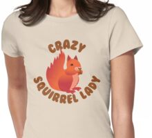 Crazy (RED) Squirrel lady in a circle Womens Fitted T-Shirt