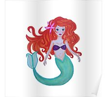 Mermaid with long red hair Poster
