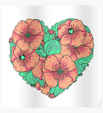 Pink poppy flowers heart Poster