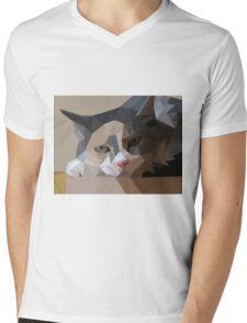 polygon art cat Mens V-Neck T-Shirt