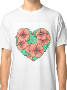 Pink poppy flowers heart Classic T-Shirt