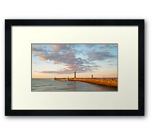 Whitby Pier at Sunset Framed Print
