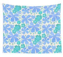 Tropical Floral In Teal Turquoise And Blue Wall Tapestry
