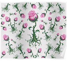 Pink Roses - Pretty Floral Pattern Poster