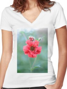 """Anemone - """"Windflower"""" - Dancing in the Breeze Women's Fitted V-Neck T-Shirt"""