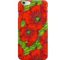 Red poppies flowers pattern iPhone Case/Skin