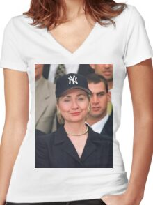 Hillary Clinton - New York Yankees Women's Fitted V-Neck T-Shirt