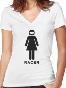 Woman Racer (3) Women's Fitted V-Neck T-Shirt