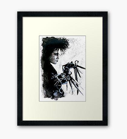 Scissorhands Splatter Framed Print