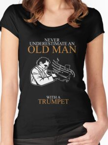 Never Underestimate An Old Man Trumpet Gift For Daddy Or Husband Women's Fitted Scoop T-Shirt