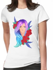 Rainbow hair Womens Fitted T-Shirt